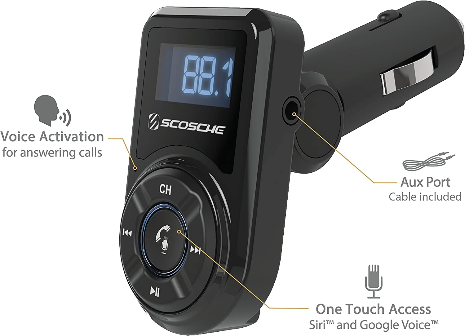 Scosche Btfm3 Bluetooth Fm Transmitter With Usb Port And Remote Control For Mobile Devices Smartphone Car Truck Car Elektronik