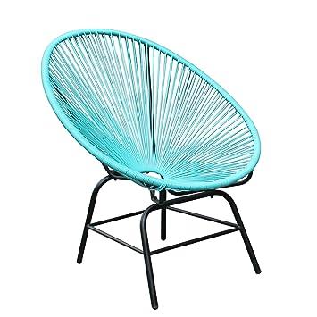 Original Retro ACAPULCO Chair Türkis Blau Mexico Stuhl Aus Metall  Polyrattan Outdoorstuhl Für Innen Und Außen