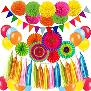 ZERODECO Fiesta Party Decoration, Multicolor Vibrant Hanging Paper Fans Pompoms Latex Balloon Tissue Paper Tassel Triangle Bunting Banner for Fiesta Mexican Cinco De Mayo Baby Shower Party
