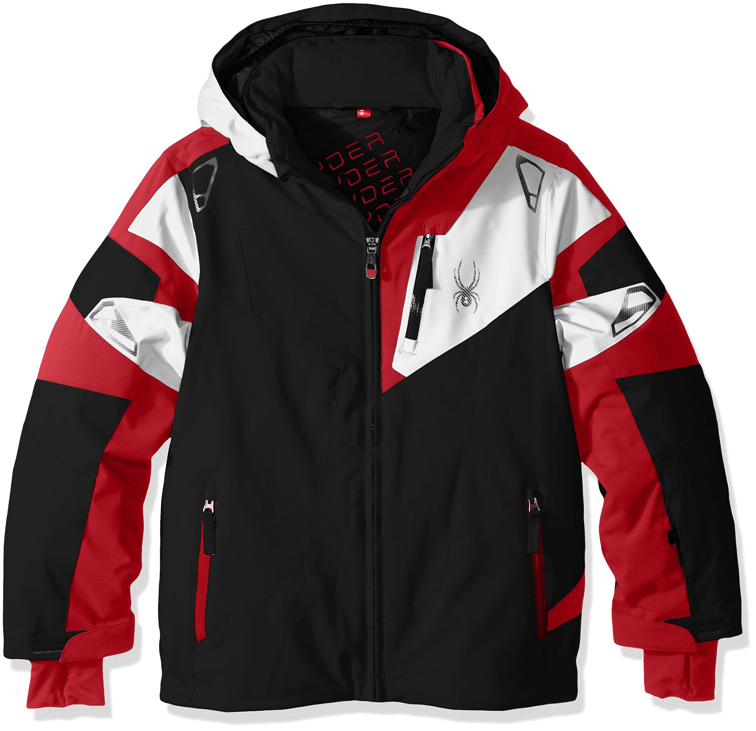 Spyder Boys Leader Jacket, Size 12, Black/Formula/White by Spyder