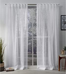 Exclusive Home Curtains Belgian Textured Linen Look Jacquard Sheer Hidden Tab Top Curtain Panel Pair, 50x96, White