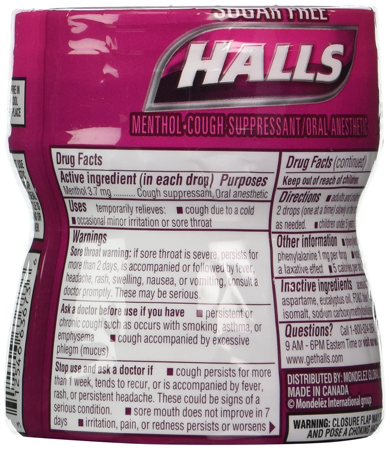 Amazon.com: Halls Sugar Free Triple Soothing Action Drops, Black Cherry, 4 Count: Health & Personal Care