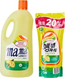 Mama Lemon Dishwashing Liquid, Regular, 2L Banded with 600ml Refill