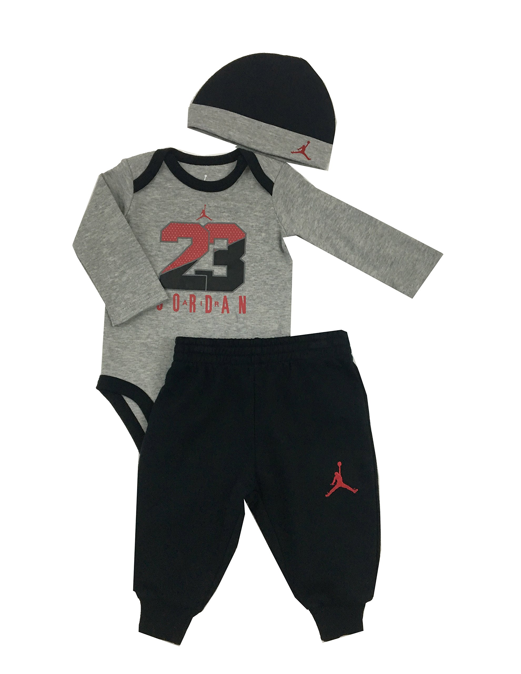 Air Jordan Infant Boys 3-Piece Onesie, Pant, and Hat Set Black/Dark Grey Heather Size 6/9 Months