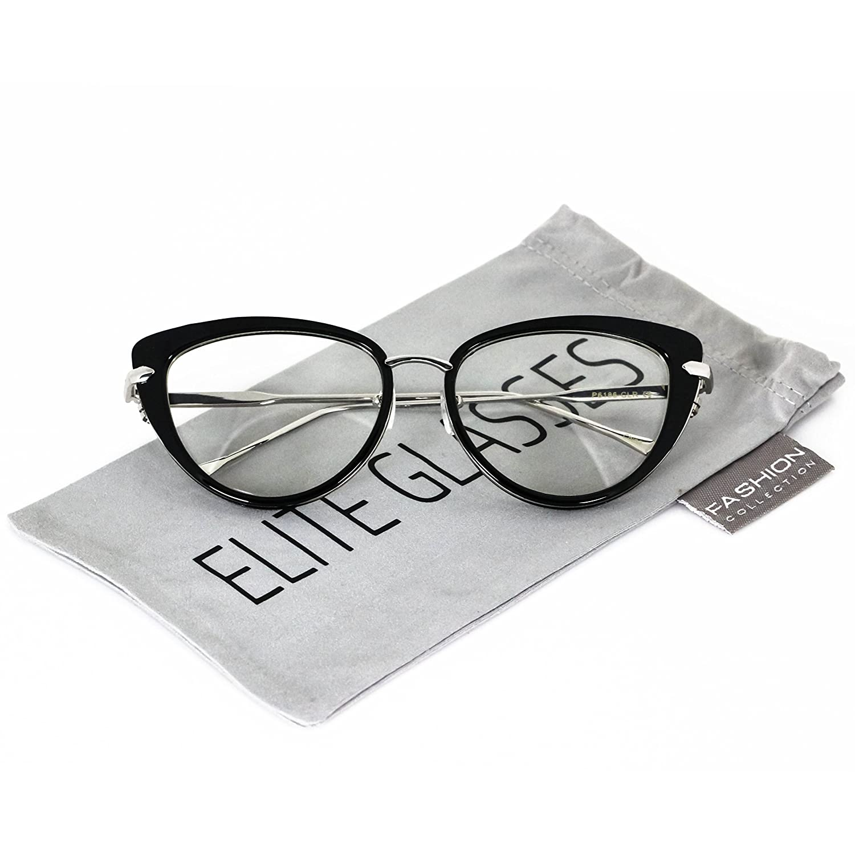 Elite Cat Eye Fashion Design Clear Lens Metal Frame Women Eye Glasses