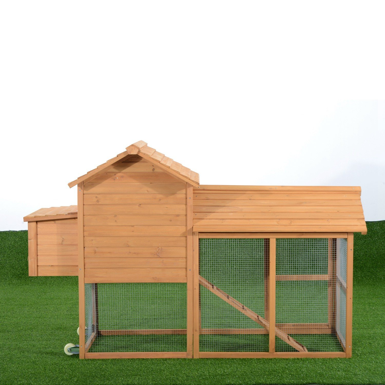amazon com pawhut deluxe portable backyard chicken coop w
