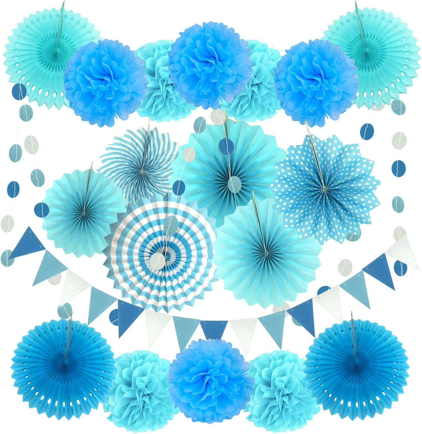 ZERODECO Party Decoration, 21 Pcs Blue Hanging Paper Fans, Pom Poms Flowers, Garlands String Polka Dot and Triangle Bunting Flags for Boy Birthday Parties, Bridal Showers, Baby Showers, Wedding