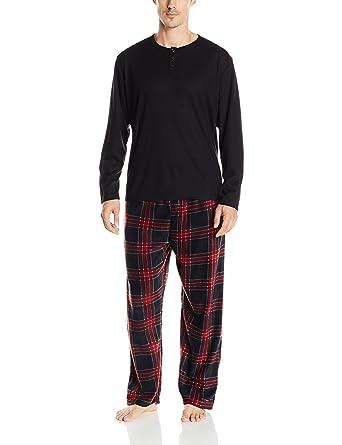 Essentials by Seven Apparel Men s Long-Sleeve Top and Fleece Bottom Pajama  Set b7c9e1b1a