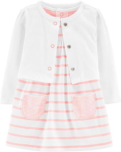 Carter's Baby Girls' 2 Piece Bodysuit Dress and Cardigan Sets