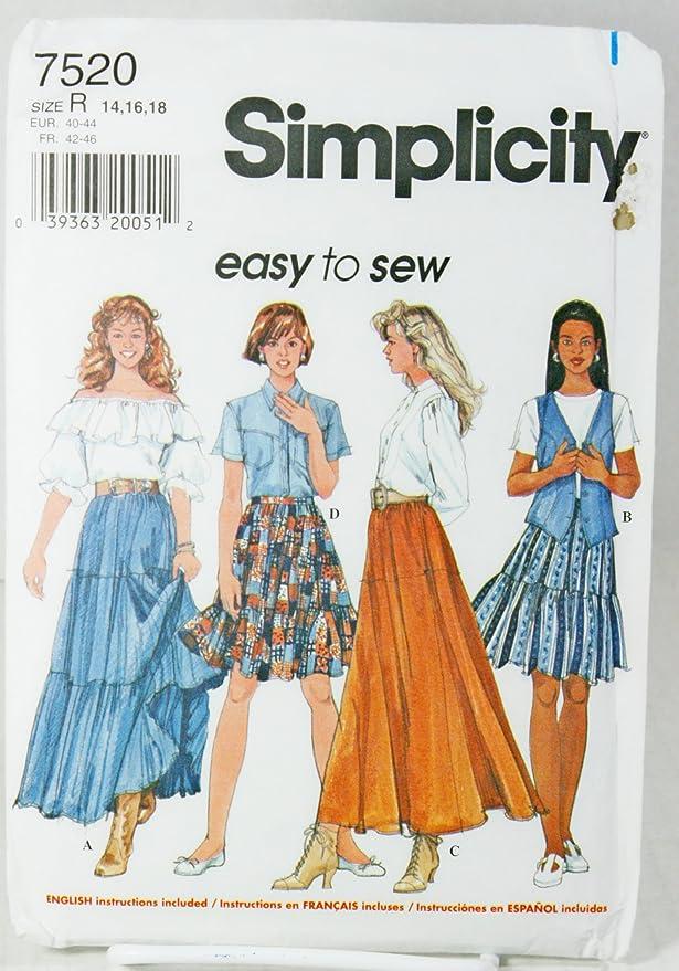 Simplicity patrón de costura para fácil de coser 7520 campesinos ...