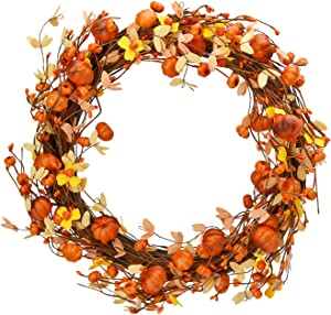 Shiny Flower Fall Wreath Autumn Wreath Harvest Wreath with Maple Leaves and Pumpkins Artificial Fall Wreath for Front Door Table Wall Halloween Thanksgiving Decorations, 12.5 in