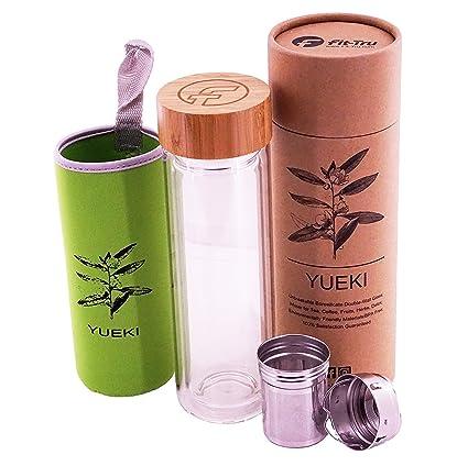 Vaso de té de cristal | botella con infusor de té, vaso de ...