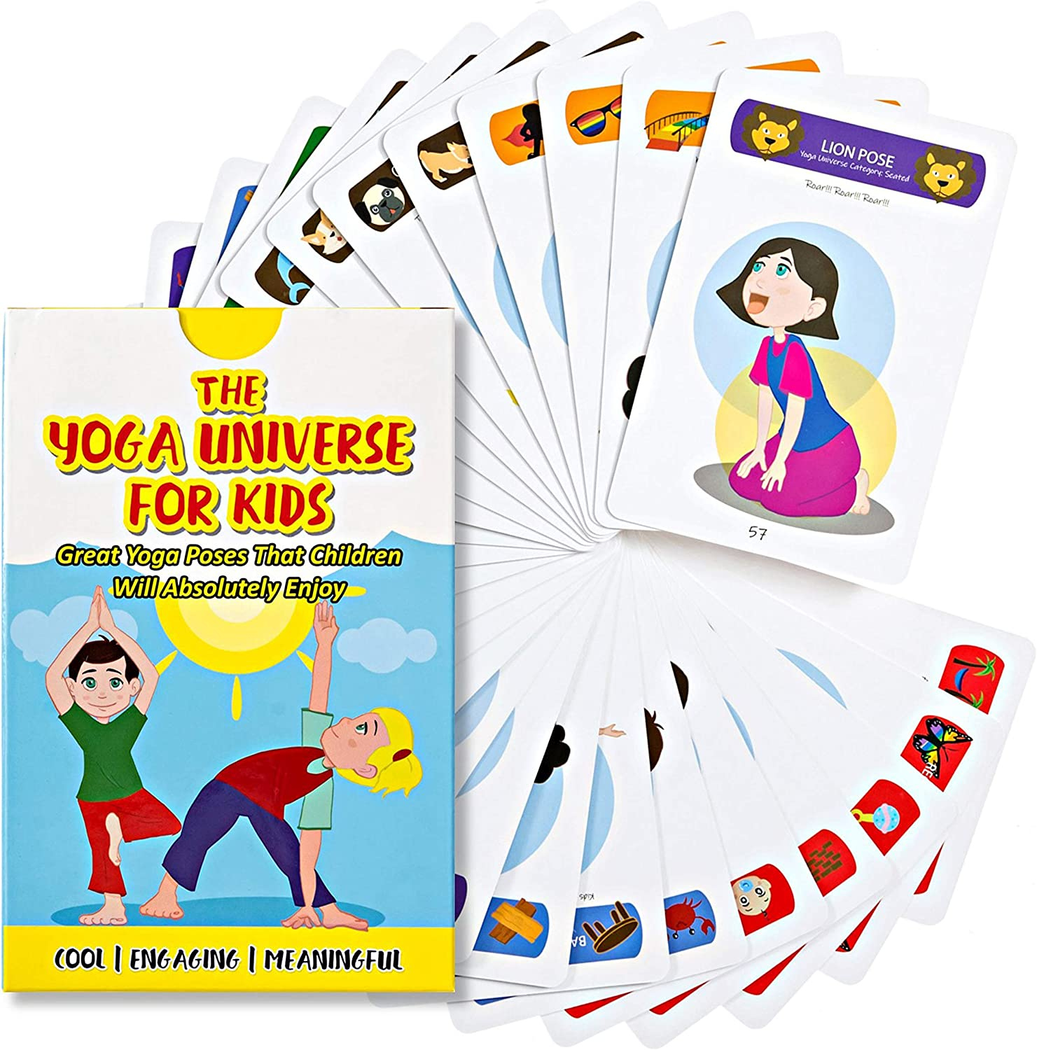 Yoga Flashcards for Children – Home, Outdoor and Classroom Awareness Activity Deck; Mindfulness Kiddie Card, Emotional and Physical Balance; Family Bonding Asanas Guide; Kids Posture Illustration