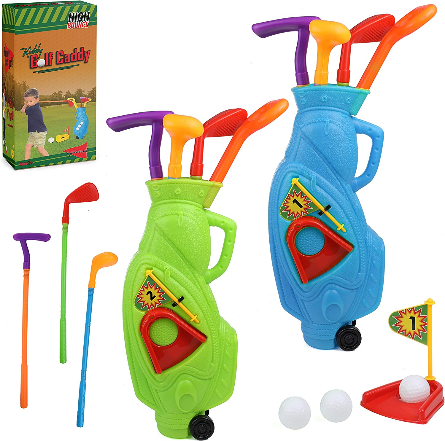 High Bounce Golf Club Set Golf Cart for Kids - 2 Golf Carts with Wheels, 3 Golf Clubs, 1 Practice Hole and 6 Balls