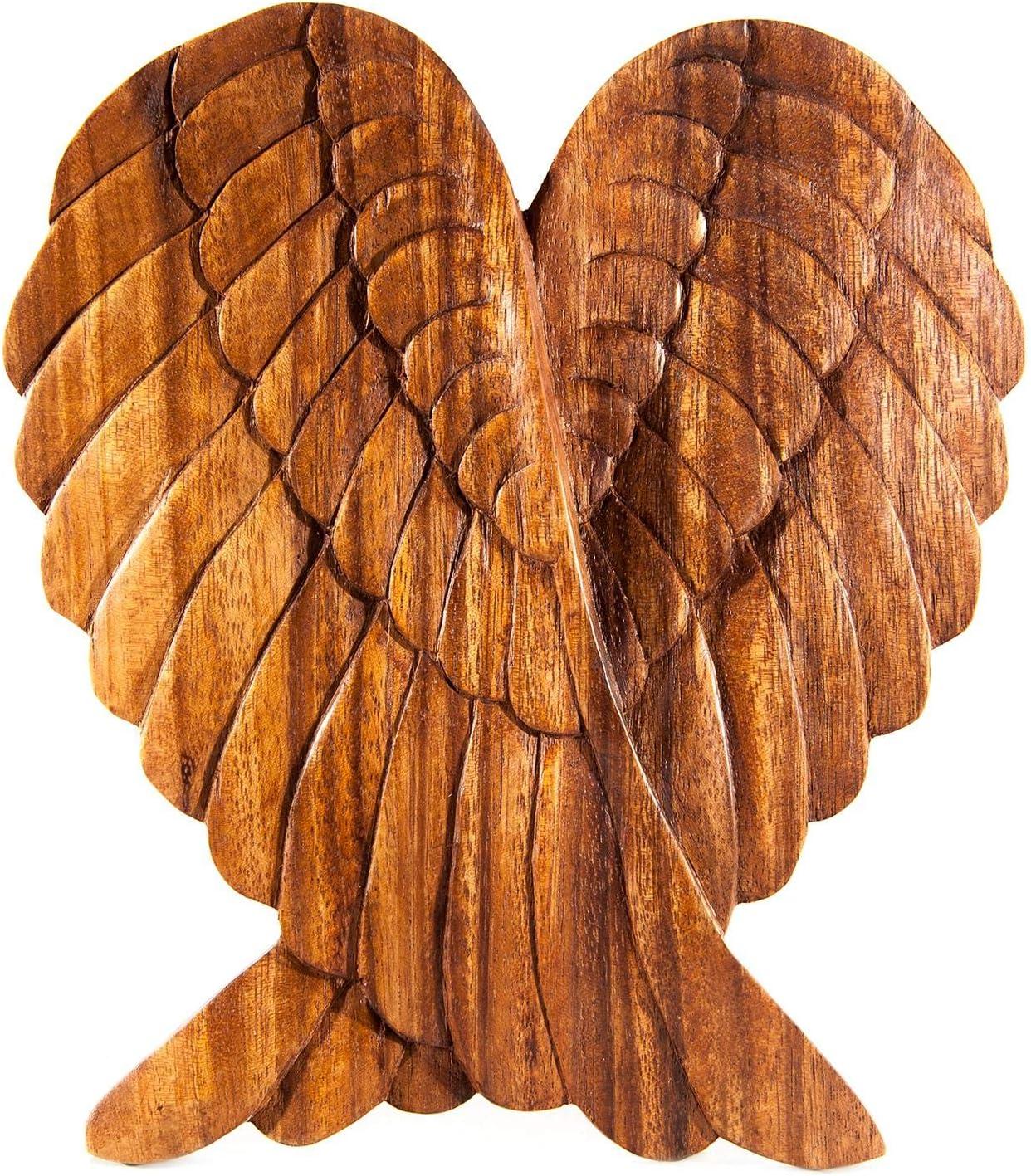 Windalf Engel Dekor Holzbild Wandrelief Amanda 22 cm Engels Fl/ügel Holzornament Bohemian Wandojekt Handarbeit aus Holz