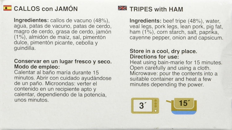 La cocina de Mamina Sara Callos con Jamón - 380 gr - [Pack de 4]: Amazon.es: Alimentación y bebidas