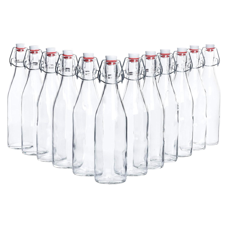grappa o per servire acqua Altezza totale: 26,5 cm 12 pezzi Bormioli Capacit/à: 500 ml succhi di frutta e vino Perfette per olio Bottiglie di vetro con chiusura ermetica Giara
