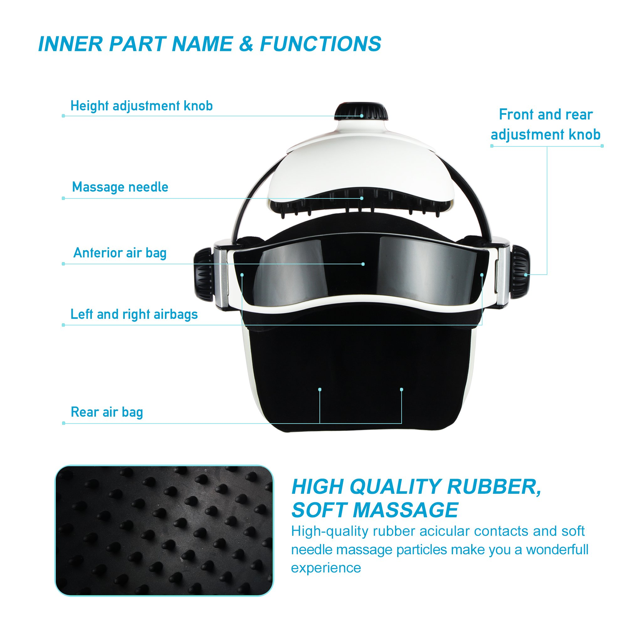 REAQER Electric Head Massager Multifunctional Massage Helmet with Soothing Music and Air Pressure to Relax and Relieve The Headache by REAQER (Image #2)