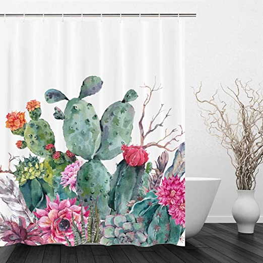 Watercolor desert Cacti Bathroom Shower Curtain 12 Hooks Polyester Waterproof