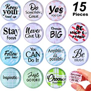 15 Pieces Inspirational Refrigerator Magnets Motivational Quote Fridge Magnets Locker Magnet Round Glass Magnets for Fridge office Whiteboard Supplies