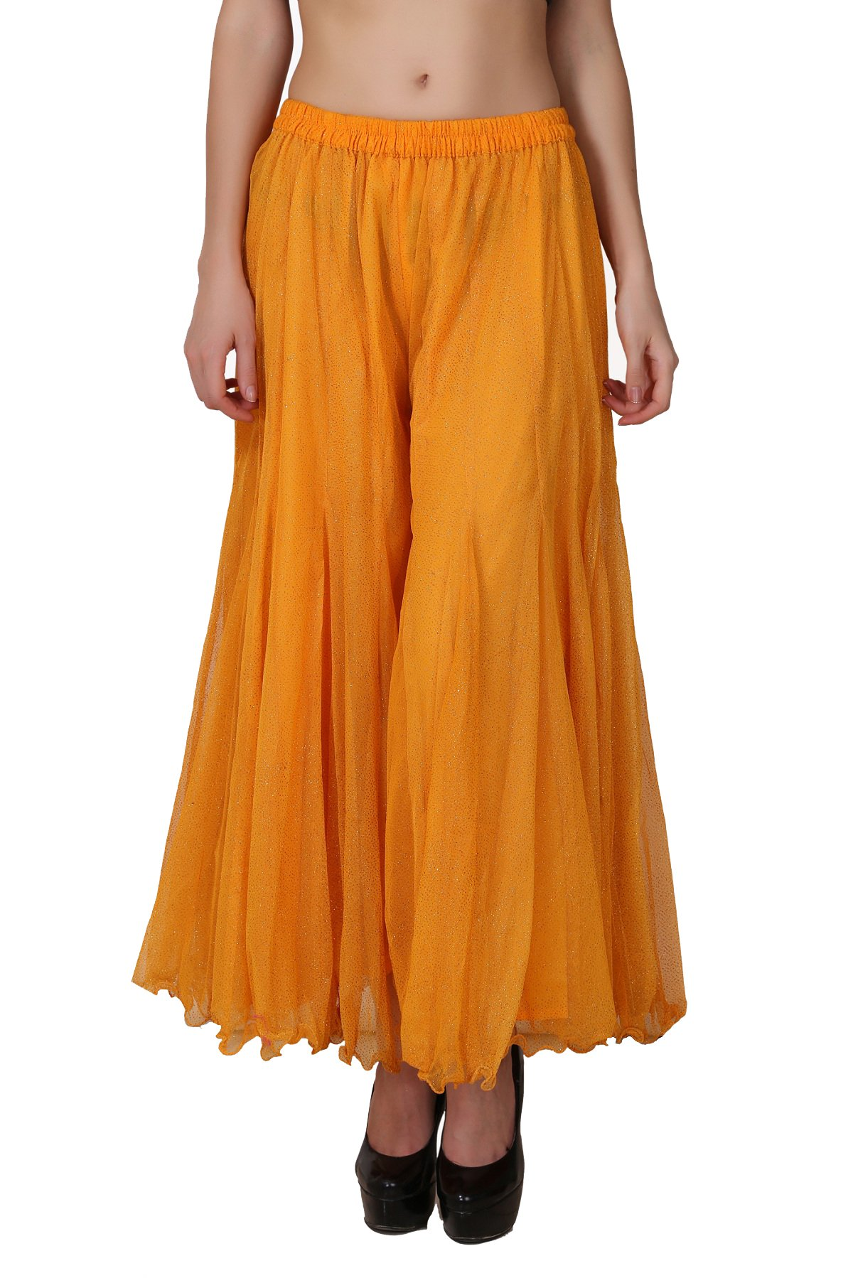 Shararat Women's Palazzo Pants Glitter Net Loose Wide Leg Sharara Trousers