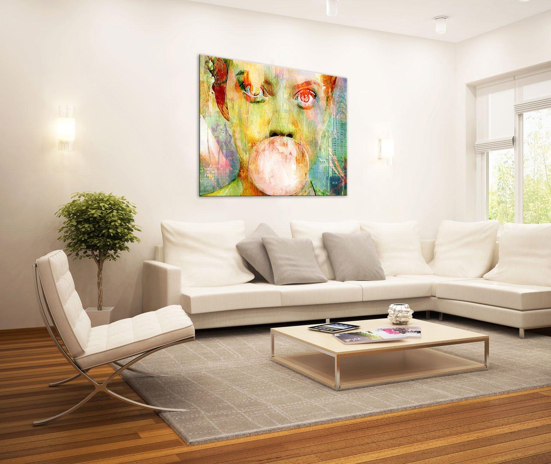 gallery of innovative art tableau dcoration murale 100x75cm bubblegum girl impression sur toile xxl tendue sur 2cm chssis en bois dco salon