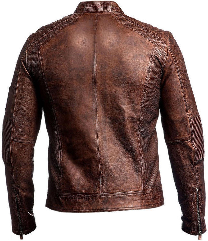 Fashion/_First Mens Vintage Biker Motorcycle Distressed Brown Cafe Racer Genuine Leather Jacket