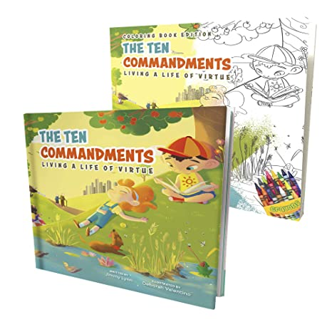 The Ten Commandments Life of Virtue & Bible Coloring Book Edition for Kids  - Children's Activity Book w/ Illustration & Rhymes to Bring God's Laws to