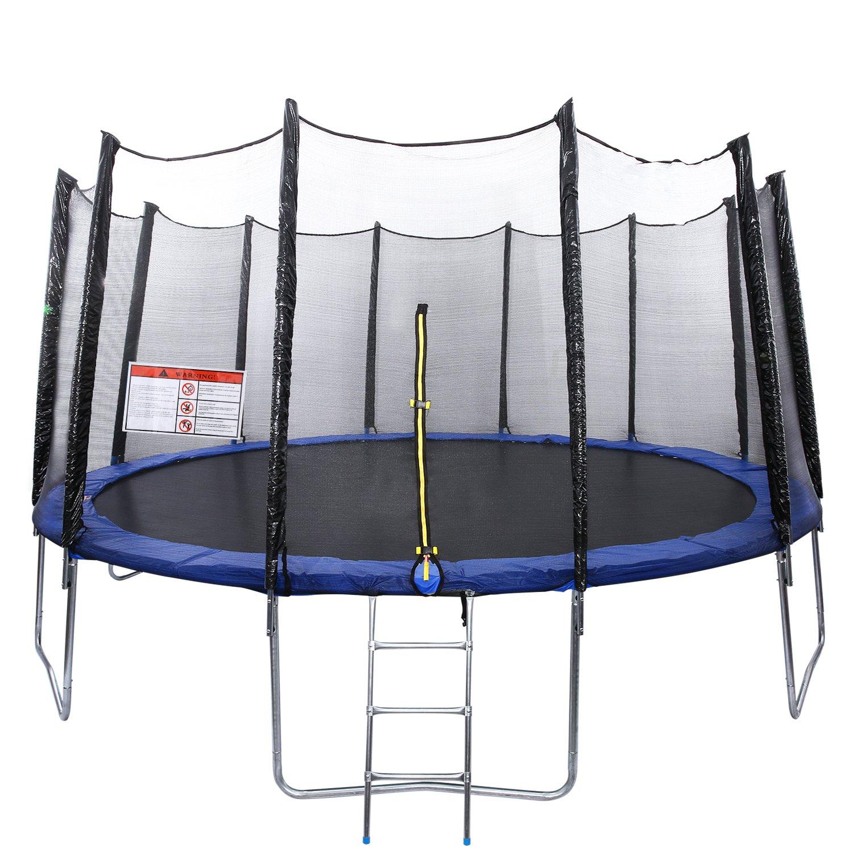 Creine Trampoline Outdoor Gartentrampolin Fitness Trampolin Komplettset mit Sicherheitsnetz gepolsterten Netzpfosten Sport Trampolin ø 366 cm/428 cm/458cm