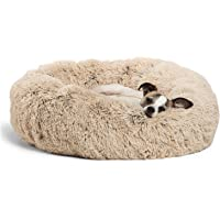 "Best Friends by Sheri Calming Shag Vegan Fur Donut Cuddler (23x23"" Small - Taupe), Cat and Dog Bed, Self Warming and…"