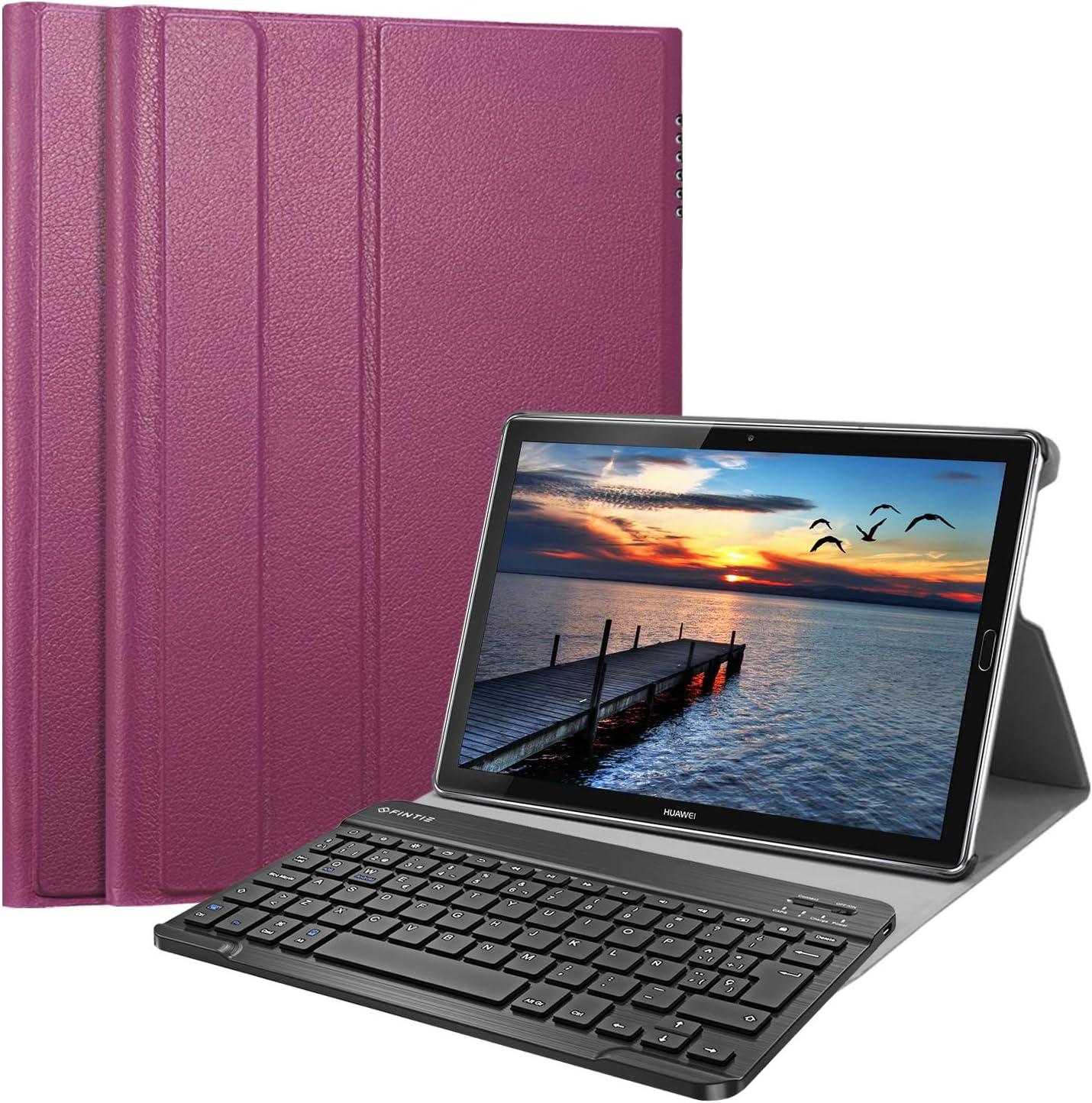 Fintie Funda con Teclado Español Ñ para Huawei MediaPad M5 10.8 / M5 Pro 10.8 - Carcasa SlimShell con Soporte y Teclado Bluetooth Inalámbrico Magnético Desmontable, Morado