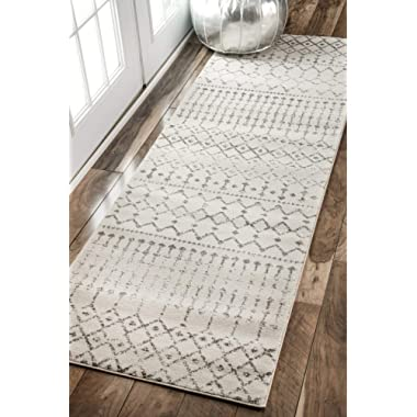 nuLOOM Moroccan Blythe Runner Rug, 2' 8  x 8', Grey/Off-white