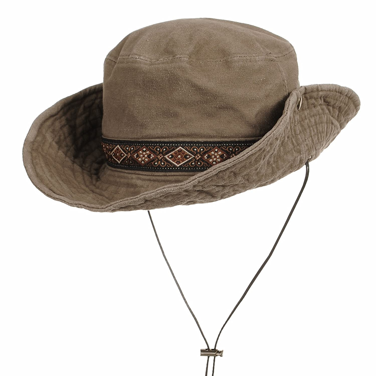 WITHMOONS Boonie Bush Hat Aztec Pattern Wide Brim Side Snap KR8752 KR8752Beige