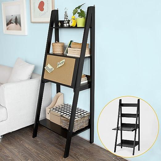 Sobuy FRG115-SCH,IT Estantería de escalera, plegable, con pizarra, color negro: Amazon.es: Hogar
