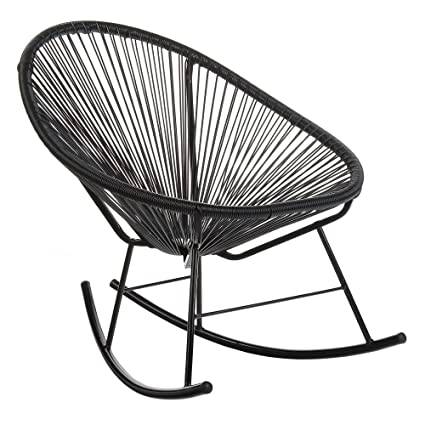 Design Tree Home Acapulco Indoor/Outdoor Rocking Chair, Black