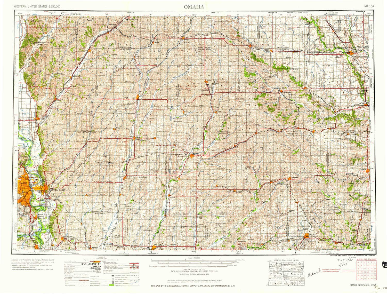 Amazoncom Yellowmaps Omaha Ne Topo Map 1250000 Scale 1 X 2 - Omaha-on-us-map