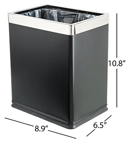 Genial Brelso U0027Invisi Overlapu0027 Open Top Metal Trash Can, Small Office Wastebasket,