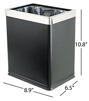 Charming Brelso U0027Invisi Overlapu0027 Open Top Metal Trash Can, Small Office Wastebasket,