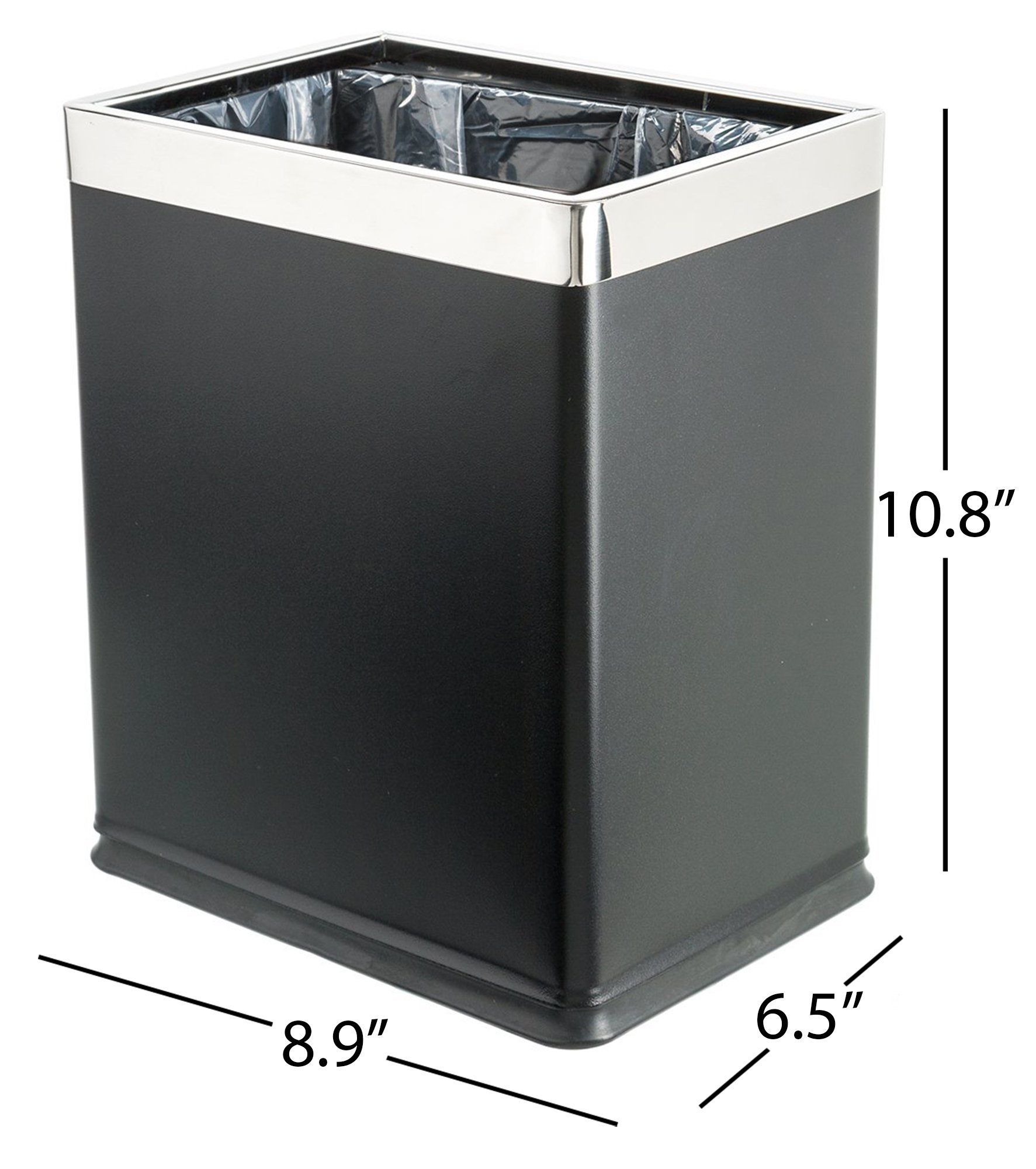 Brelso 'Invisi-Overlap' Open Top Metal Trash Can, Small Office Wastebasket, Modern Home Décor, Rectangle Shape (Black)