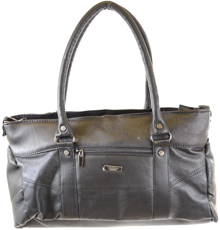 Ladies Black Soft Nappa Leather Handbag / Shoulder Bag with Detachable Strap