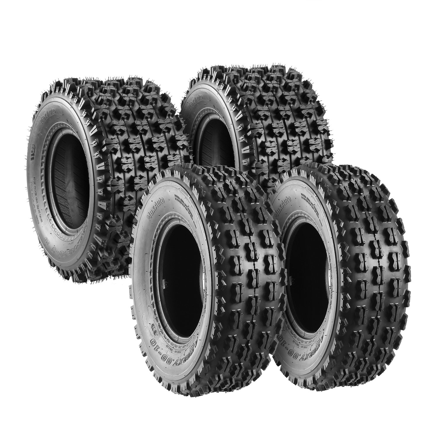 Set of 4 Sport ATV Tires 22x7-10 Front & 20x10-9 Rear /4PR - 10077/10081 by MaxAuto