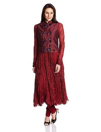 b653225923 Biba by Rohit Bal Women Straight Salwar Suit Sets (SKD #  Small07_MAROON_Medium)