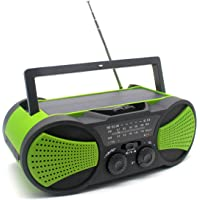 Greadio Emergency Weather Crank Solar Radio with Audio Input, 4000mAh Power Bank