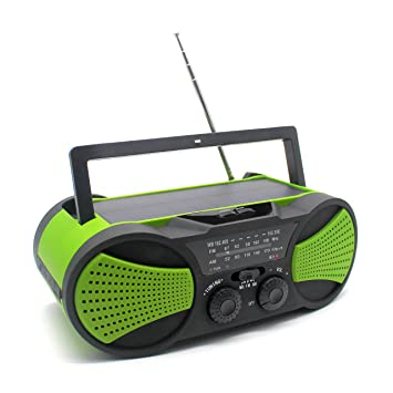 Emergency Weather Crank Solar Radio With Audio Input 4000mAh Power Bank 3W Flashlight
