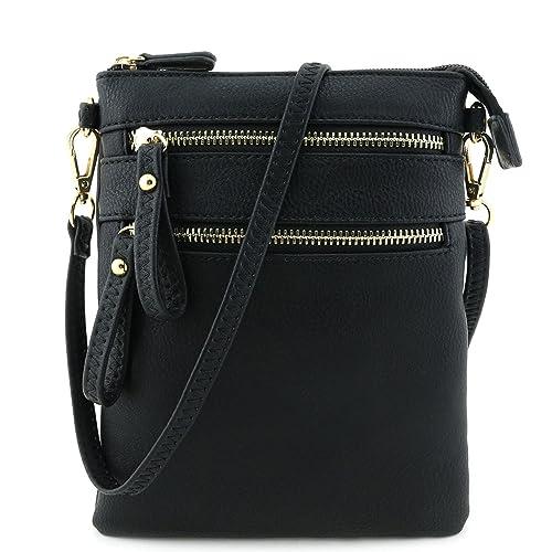 Multi Zipper Pocket Wristlet Crossbody Bag Black  Handbags  Amazon.com f907c453f1383