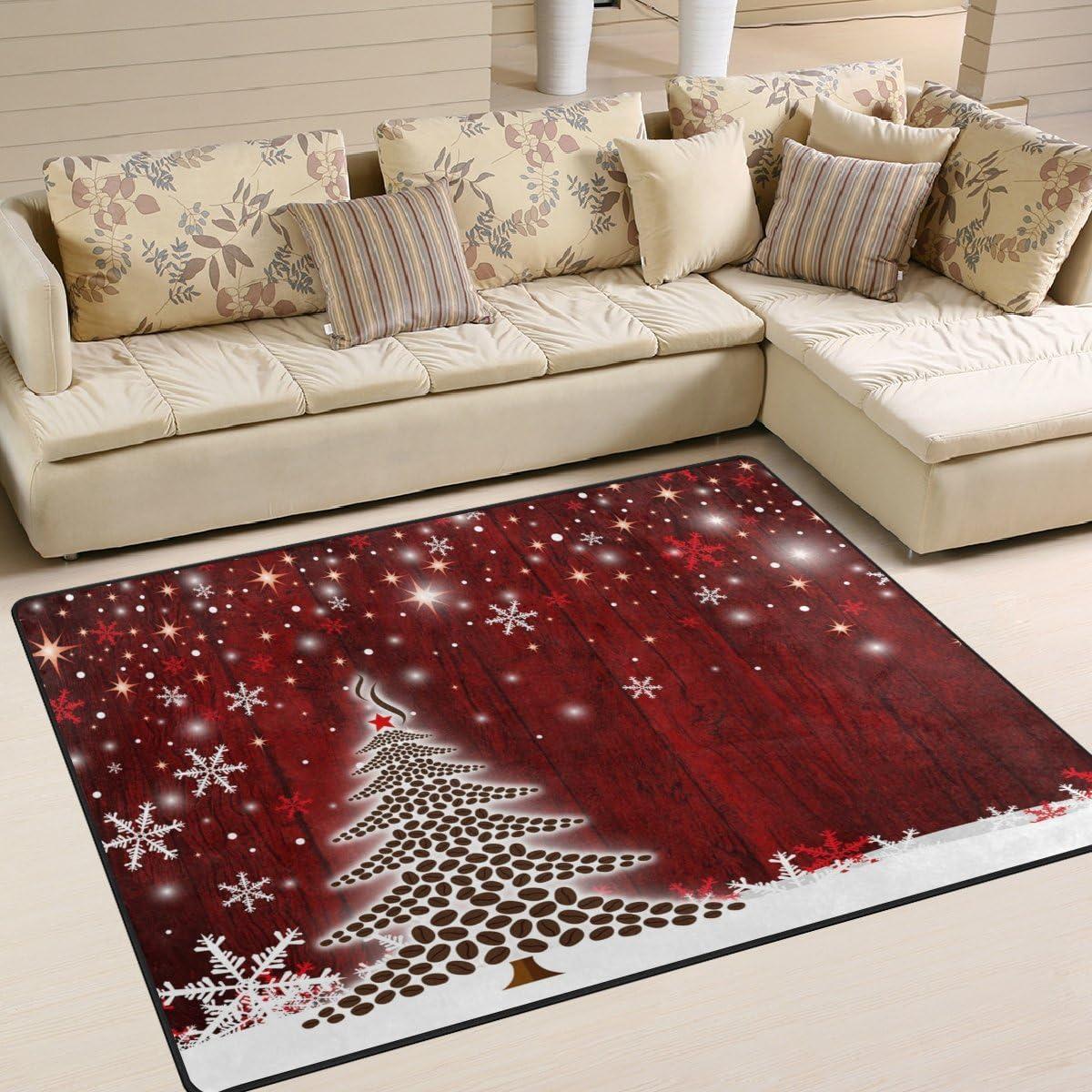 Zzkko Xmas Large Area Rug Carpet 5 X7 150x200 Cm Christmas Tree Snowflake Area Floor Rug Mat For Bedroom Living Dorm Room Kitchen Amazon Co Uk Kitchen Home
