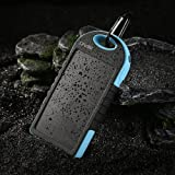 Levin 12000mAh Solar Panel USB Port External Battery Power Pack for Smartphones, Tablets, Gopro Camera and USB Charged Devices - Blue