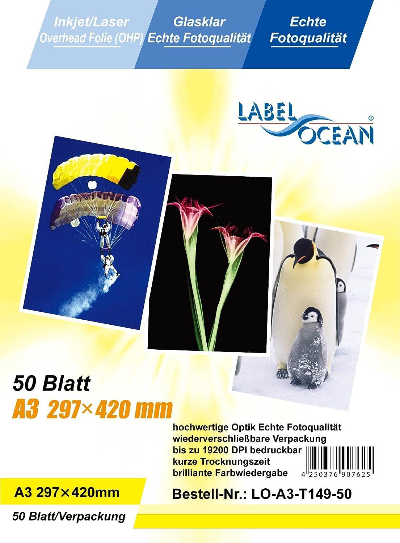 di Labelocean a getto dinchiostro e fotocopiatrici in bianco e nero e a colori 50 fogli lucidi A3 per lavagna luminosa compatibili con stampanti laser