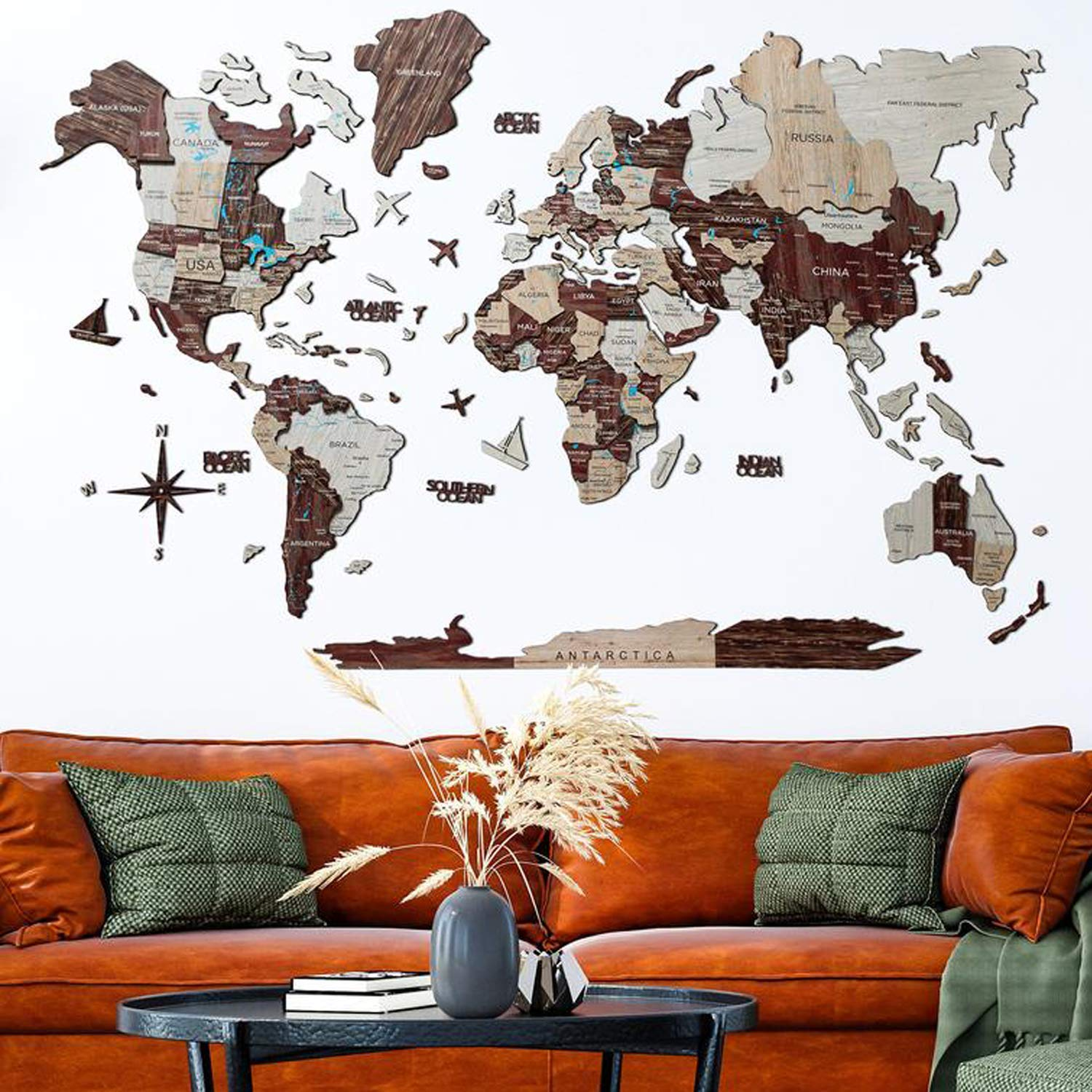 Home Decor 3D Wood World Map CAPPUCCINO color Wall Art. Large Wall Decor - World Travel Map All Sizes (M,L,XL,XXL). Any Occasion Gift Idea - Wall Art For Home & Kitchen or Office