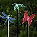 Solar Stake Lights Outdoor Garden Voona 3-Pack Color Chaning LED Lights with Clear Butterfly Dragonfly Hummingbird Stake Mixed for Outdoor Garden Pathway Lawn Yard Decoration (Stake Lights)